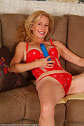 Gorgeous 55 year old MILF plays with her huge blue toy from All Over 30