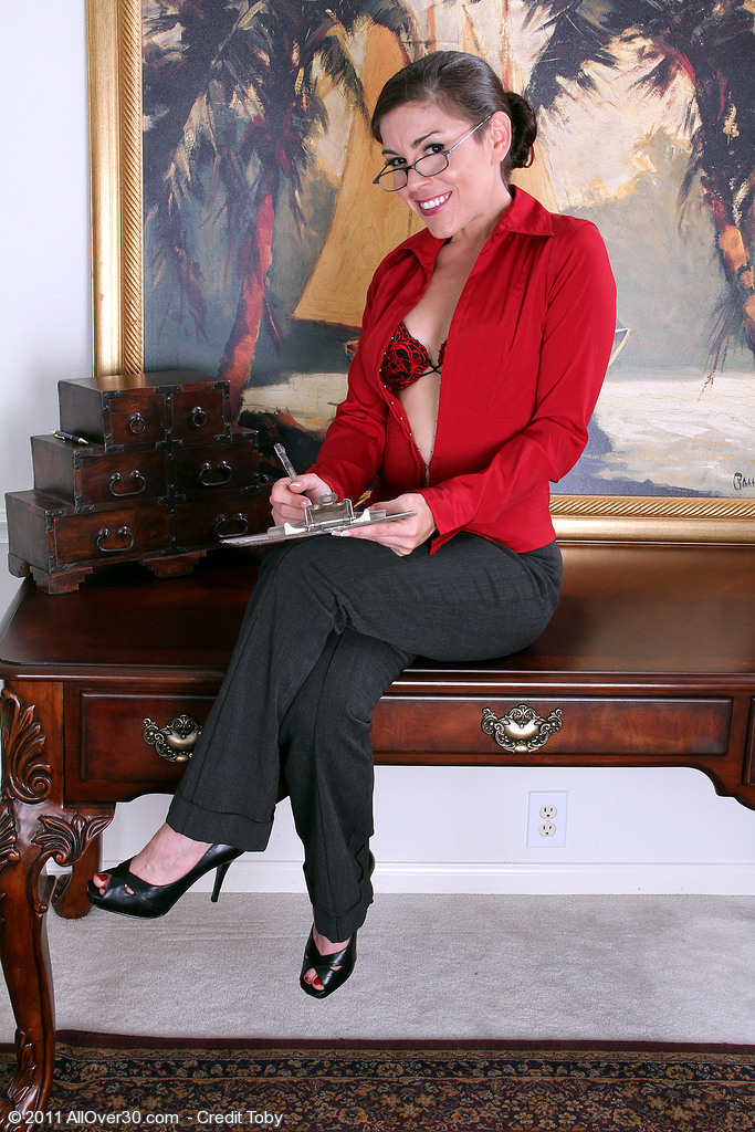 Milf high heels office porn