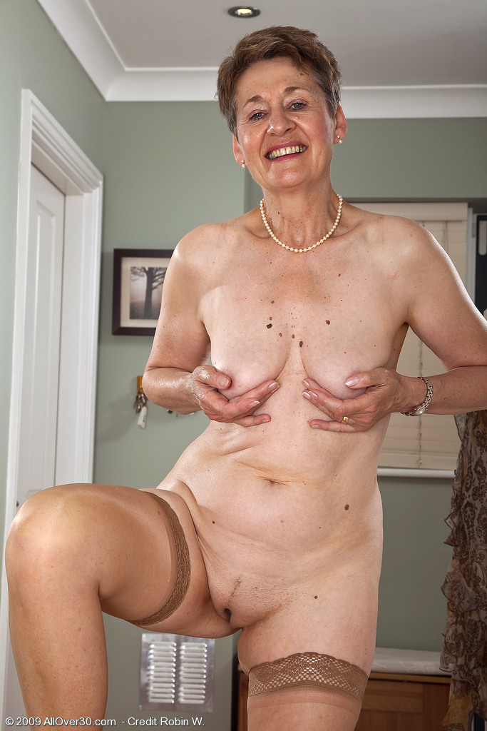 60 year old Dee shows off her shaven mature pussy from All Over 30
