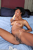 30 year old Jayden toys her ebony coochy from All Over 30