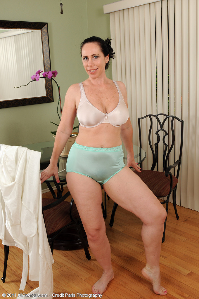 Mature women in white bra and panties