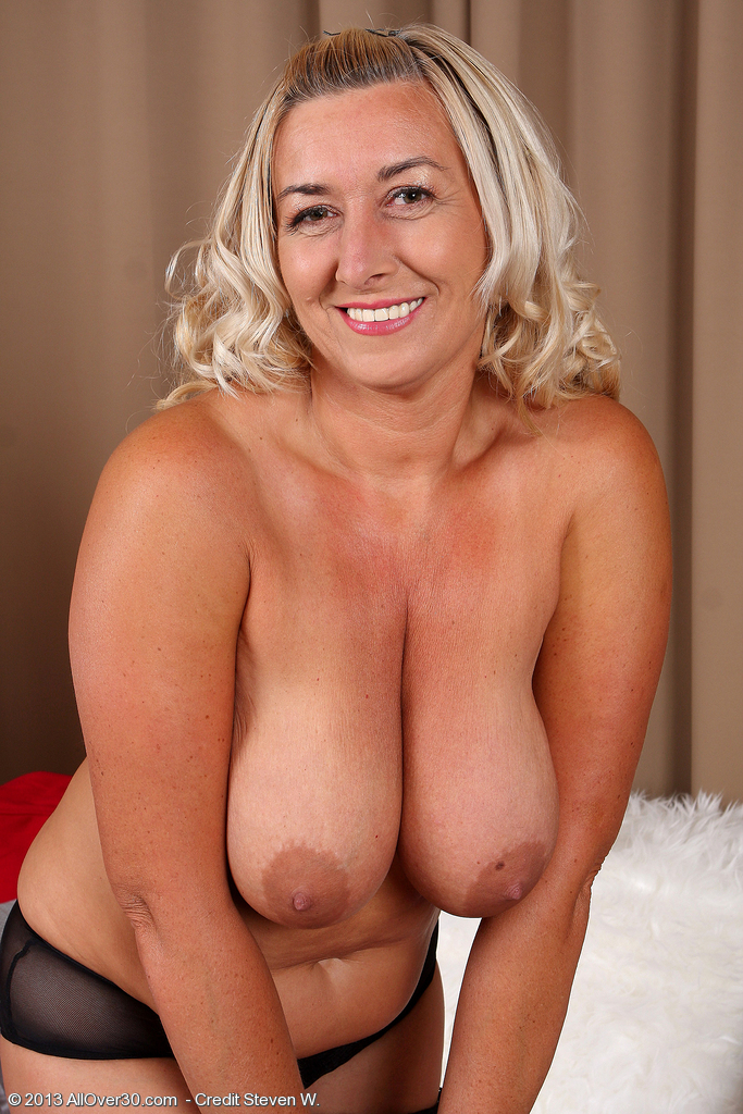 Blonde wife with huge tits
