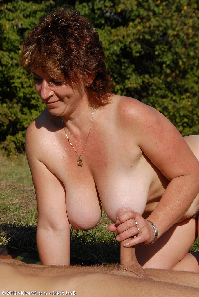 Huge old granny naked outdoors