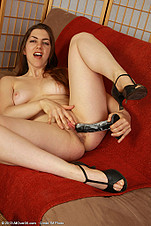 Silva Storey plays with her dildo from All Over 30