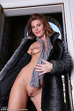 Sky Rodgers in and out of her mink coat from All Over 30