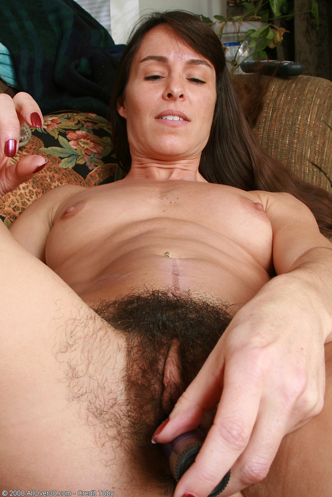 spicey MILF with a very hairy pussy toys herself from All Over 30