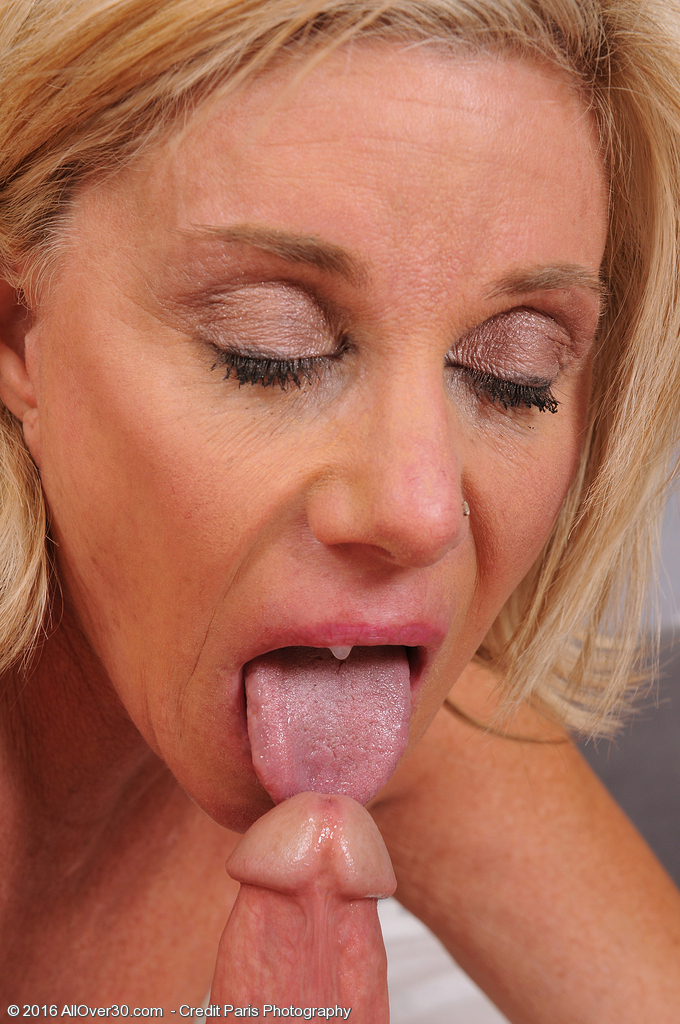Mature Redhead Milf With Tongue Wearing Wedding Ring Giving Blowjob