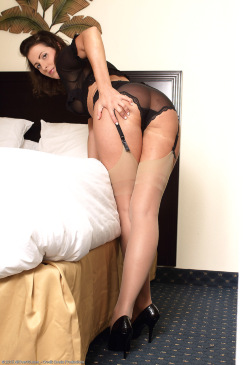Helena Price in Sheer Lingerie and Pantyhose